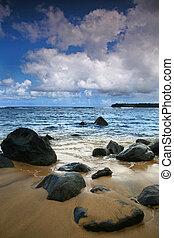 verticaal, zeezicht, hawaii, oceaan, helder, kauai