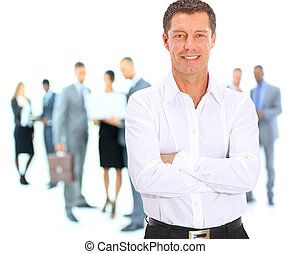 verticaal, zeker, zakenmens