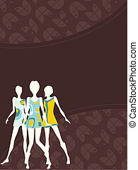 Vertical 1960's retro banner - Brown mod banner with female...