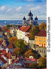 vertical, aéreo, cidade, estónia, tallinn, antigas, vista