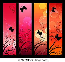 vertical, absract, papillons, bannières, fleurs, rouges