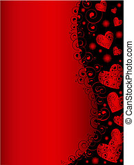 vertical abstract wavy heart frame in red and black