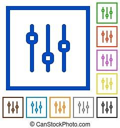 Vertical adjustment framed flat icons - Set of color square...