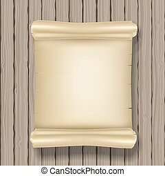 vertical ancient scroll on wooden background. vector