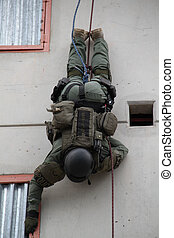 Vertical Assault - SWAT Cop practicing rappel into building