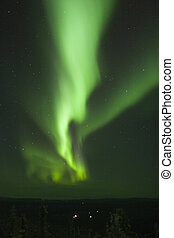 Vertical Aurora Borealis stripe - Vertical band of northern...