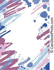 Vertical backdrop with colorful paint stains, blots and brush strokes on white background. Beautiful artistic decorative frame or border with blue and purple smears and scribble. Vector illustration.