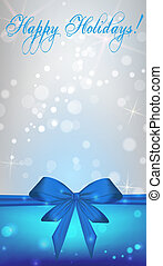 Vertical background with blue ribbon bow