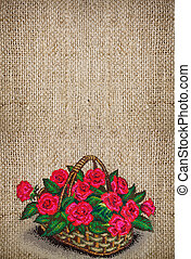 Vertical background with embroidered basket of roses