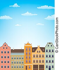 vertical background with retro houses over blue sky with clouds. vector illustration