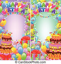 Vertical banner birthday bright with space for text
