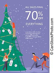 Vertical Banner for Christmas sale. People running after...
