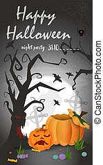 Vertical banner for holiday design on the theme of all saints eve Halloween, scary tree and pumpkins on the moon background, black gradient background, flat vector illustration