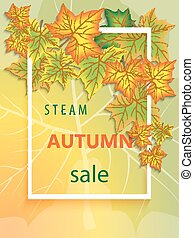 Vertical banner for the steam autumn sale with frame and autumn maple leaves. Sample template for design.