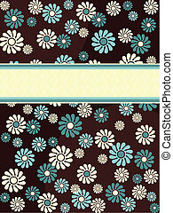 Vertical banner with blue flowers - 1960's/1970's retro...