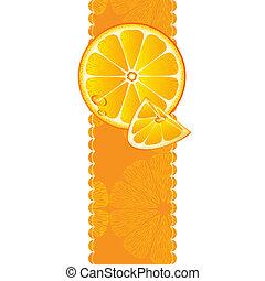 Vertical banner with orange fruit