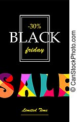Vertical banner with text Sale black Friday.