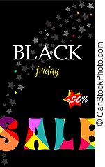 banner with text Sale black Friday.