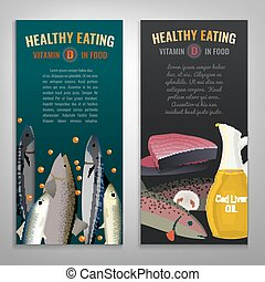 Vitamin D in food. Beautiful vector illustration in modern style. Portrait banners set. Healthy eating concept.
