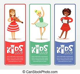 Vertical banners set with teenager girls practicing arts,...