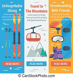 Vertical banners skiing and snowboarding