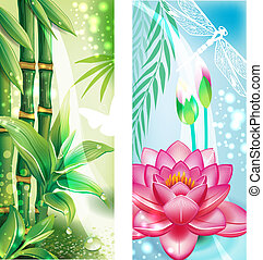 Vertical banners with bamboo and lotus