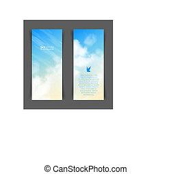 vertical, beige-blue, céu, realístico, vetorial, bandeiras,...