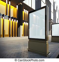 Vertical billboard in downtown. A 3d illustration blank...