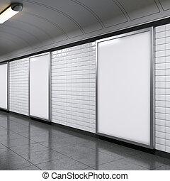 vertical billboards on metro station - blank vertical...