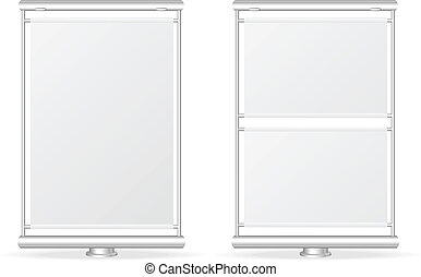Vector white billboard screen template, isolated on white