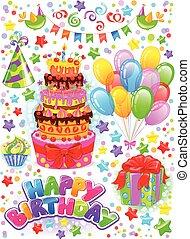 Vertical birthday set - Vertical banner Happy Birthday with...