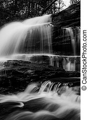 Vertical black and white image of Onondaga Falls, in Glen Leigh at Ricketts Glen State Park, Pennsylvania.