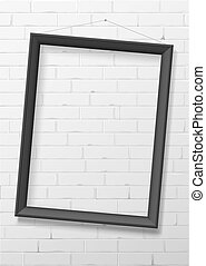 Vertical black empty frame from wood