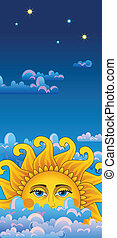 Big hot gold sun on clouds. - Vertical blue banner. Big hot...