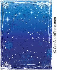 Vertical blue grunge winter background