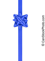 vertical blue ribbon with gift bow isolated on white