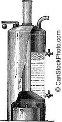 Vertical Boiler, vintage engraving
