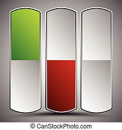Vertical buttons, power buttons. Green, red states, and unpressed version. editable vector graphics