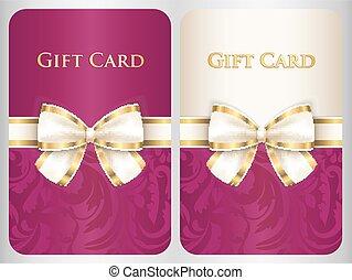 vertical, cadeau, damassé, ornement, diagonal, écarlate, carte, ruban, crème