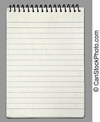 vertical, cahier, figure, papier, vide, blanc, une
