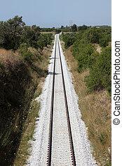 vertical, chemin fer, par, paysage, image, piste
