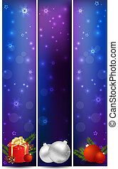 Vertical christmas banners with decoration