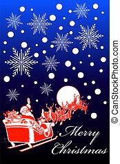 Vertical Christmas card design. vector Illustration. santa sleigh christmas card