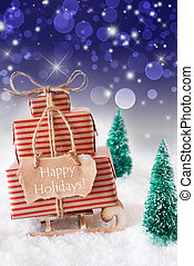 Vertical Christmas Sleigh On Blue Background, Text Happy Holidays