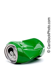 vertical close up of a green crushed aluminum drink can with copy space