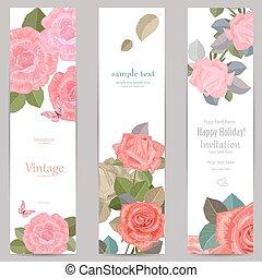 vertical, cobrança, rosas, bandeiras, seu, design.