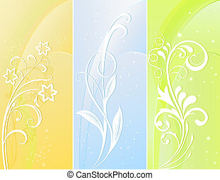 Vertical color floral vector banners.