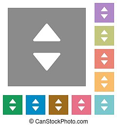 Vertical control arrows square flat icons