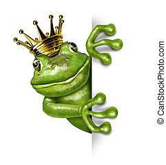vertical, corona oro, rana, señal, tenencia, blanco, ...