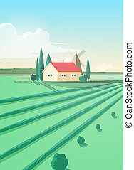Vertical countryside landscape with agricultural building or...